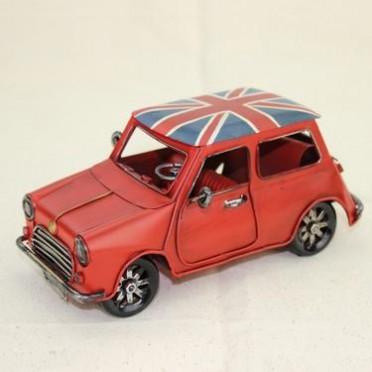 复古迷你车模 仿真纯手工 mini Cooper 版铁皮橱窗摆件模型