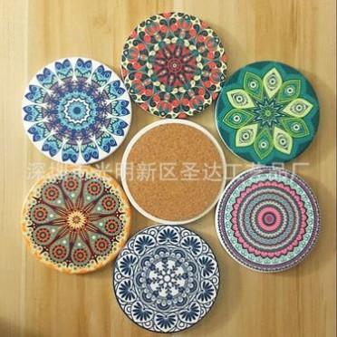 厂家热销陶瓷杯垫-软木杯垫-餐垫-激光软木陶瓷杯垫-陶瓷杯垫