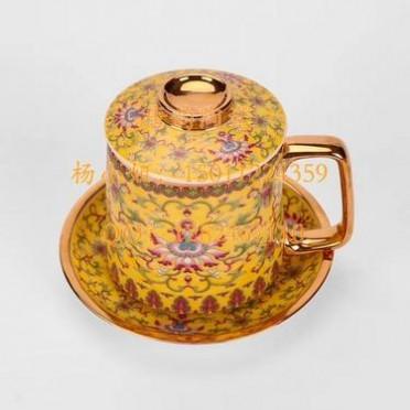 陶瓷盖杯笔筒烟灰缸定制中式茶杯礼品杯子陶瓷杯定做促销礼品杯骨