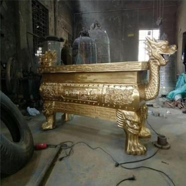 厂家直销寺庙大型龙头香炉定做铸铜长方形平口香炉祠堂铜香炉定制