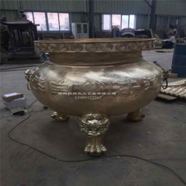 佛教香炉寺院定制平口寺庙铸铜香炉宗祠室外 长方大型圆形香炉