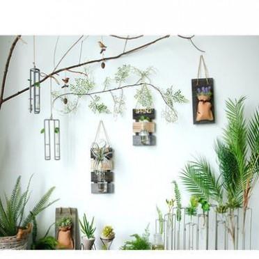 定做创意玻璃瓶水培植物壁挂客厅墙上装饰悬挂花瓶容器家居挂件