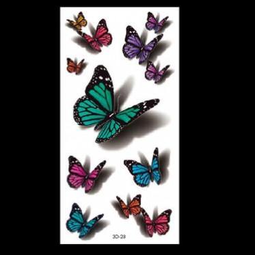 厂家直销3D蝴蝶纹身贴现货爆款卡通动物纹身贴纸3D防水纹身贴