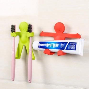 创意小人拥抱牙刷牙膏架 小人造型多功能浴室无痕挂钩