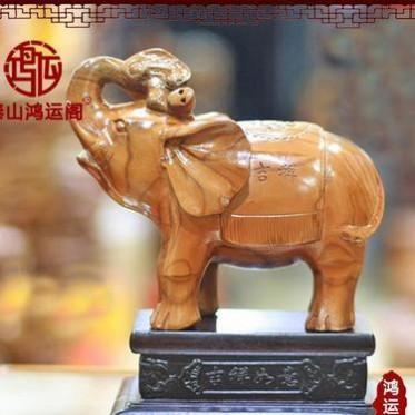 鸿运阁桃木 精品纯手工雕刻精品 大象吉祥如意摆件