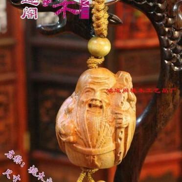 钥匙扣 桃木剑批发 鸿运阁 木雕桃木  挂件立体雕刻  寿星  2