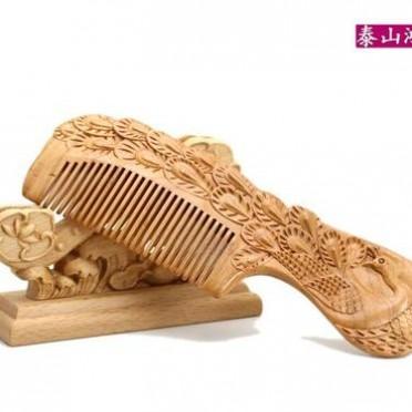肥城鸿运阁桃木 精品桃木梳子 精雕刻梳子 套装礼盒木梳-凤款