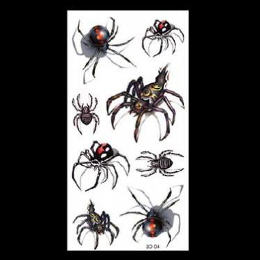 厂家批发新款现货蜘蛛纹身贴彩色花纹3D纹身贴纸量大从优