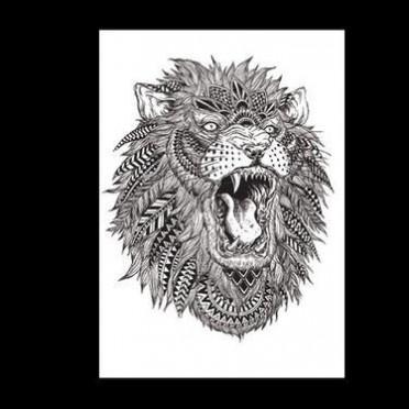 厂家批发花臂防水纹身贴 欧美花臂狮子头水转印纹身贴纸定制代发