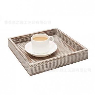 水洗白 棕色 咖啡托盘 实木 包装 美式乡村 源头厂家 直营 木盘