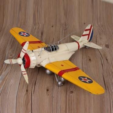 二战飞虎队p40战斗机模型 铁皮单翼飞机摆件 手工铁艺工艺礼品