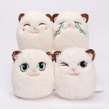 日本精品超可爱小猫公仔-毛球小猫咪毛绒玩具-包包挂件毛团批发