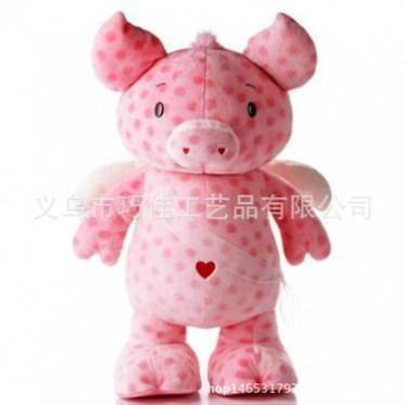 超可爱粉红小猪公仔-麦兜爱心猪毛绒玩具-天使小猪书包-厂家定制