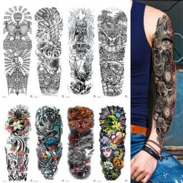 厂家定制批发2018新款全臂纹身贴 美女骷颅大图防水花臂纹身贴