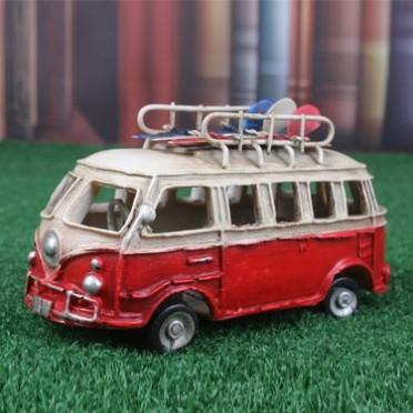 zakka新款 复古英伦风巴士 树脂手工汽车模型 滑板冲浪巴士摆件