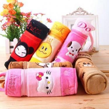 韩国卡通动物毛绒笔袋 大容量圆筒笔袋 创意学生文具盒 加工定制