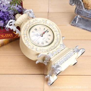 楼兰裂纹时钟树脂座钟台钟工艺品婚庆欧式复古摆件创意特色礼品