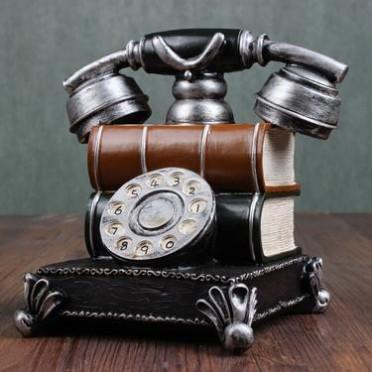 欧式存钱罐复古树脂工艺品摆件怀旧创意zakka仿古电话机家居礼品
