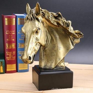 创意工艺品 复古烫金马头书房装饰品婚庆礼品欧式家居树脂摆件