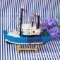 16CM渔船 摆件木船地中海澳门大富豪官网注册木质帆船木制帆船地中海家居装饰